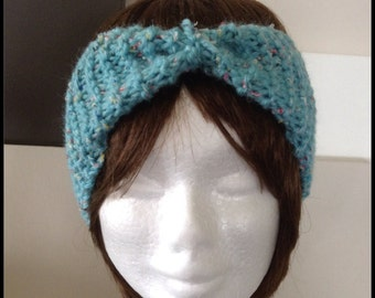 Knitted headband - knit ear warmer - light blue tweed head wrap  - keep the wind out of your ears while outdoors - made with textured wool