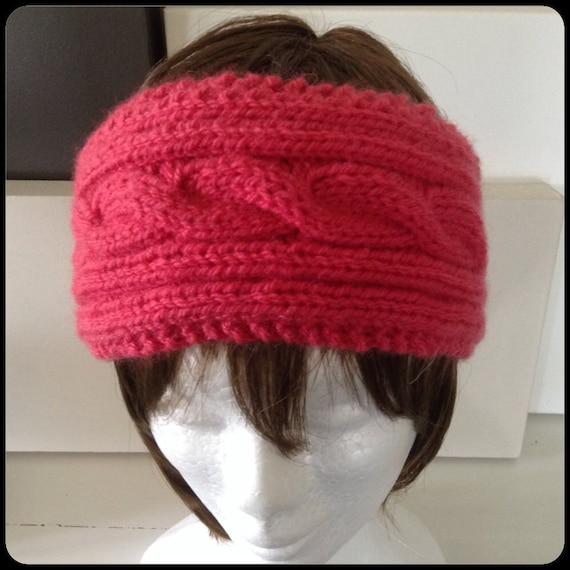 Knit headband knit ear warmer dark rose cable knitted head