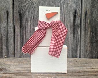 SNOWMAN wood block set, Primitive Snowman, Winter Decor {December --->February}  winter Christmas snow snowmen scarf