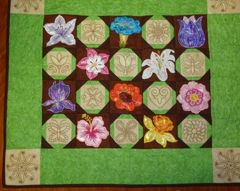 Confetti Flowers Quilted Wall Hanging