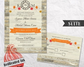 Rustic Brick and Lace Clocktower Wedding Invitation
