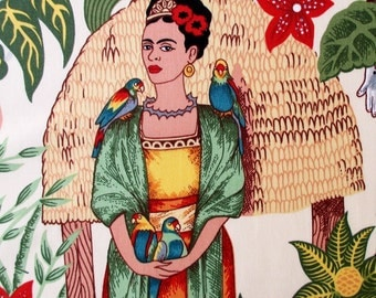 Fabric, Frida's Garden in Tea, Alexander Henry, Monkey and Parrot, By the Yard