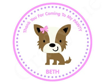 Puppy Party Birthday Favor Tags - Puppy Party Favor Tags
