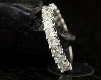 "2.25ctw Princess Cut Diamond Band in 14k White Gold, 3/4 Eternity Band, ""U Prong"" Setting, 4.3mm Wide, Square Diamond Band, Cassandra B"