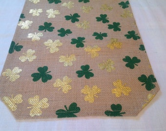 Green and Gold Shamrocks on a Burlap Table Runner