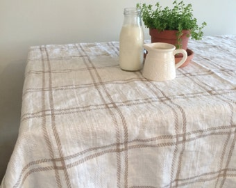 Linen Tablecloth - Plaid - Blue or Natural