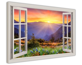 """Sunrise Over Mountains Through A Window Bay Effect on a Framed Canvas Print Wall Art Pictures Landscape Poster Size: 30"""" X 20"""" (76CM X 50CM)"""