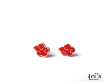 Akatsuki Cloud Symbol Tiny Studs,Akatsuki Cloud Earrings,Naruto Shippuden anime,Tiny Stud Earrings