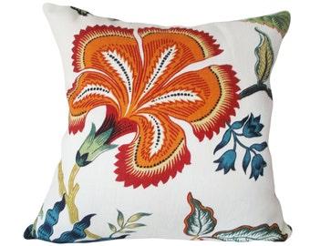 Schumacher Hothouse Flowers Spark Decorative Pillow Cover - Celerie Kemble - Throw Pillow - Accent Pillow - Solid Linen Back