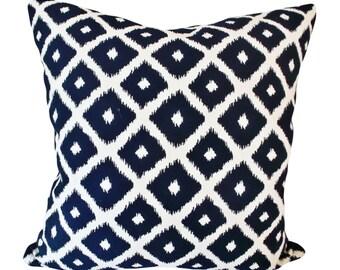 Indigo Ikat Dot Diamonds Decorative Pillow Cover - Throw Pillow - Toss Pillow - Both Sides - 12x20, 14x24, 18x18, 20x20, 22x22, 24x24