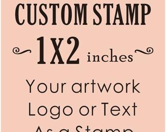 Custom Logo Stamp, Custom Rubber Stamp, Business Card Stamp, Personalized Stamp, Custom Stamp1x2 inches