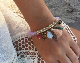 Tassel bracelet - charm bracelet - Beaded Bracelet- Gifts for her - 1 piece
