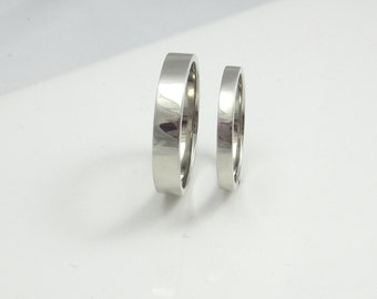 Gold Wedding Bands|His and Her's|14K Recycled White Gold Flat Bands|Ethical|Eco Friendly