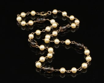 SALE...Pearl Necklace, Champagne Freshwater Pearl, Smokey Quartz, & 14kt Gold Filled, Wire Wrapped Necklace