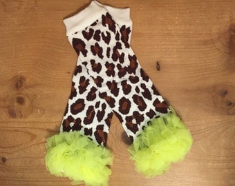 Leopard with neon yellow chiffon ruffle legwarmers