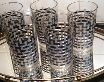 Set of 5 Retro Silver Black Highball Drinking Glasses