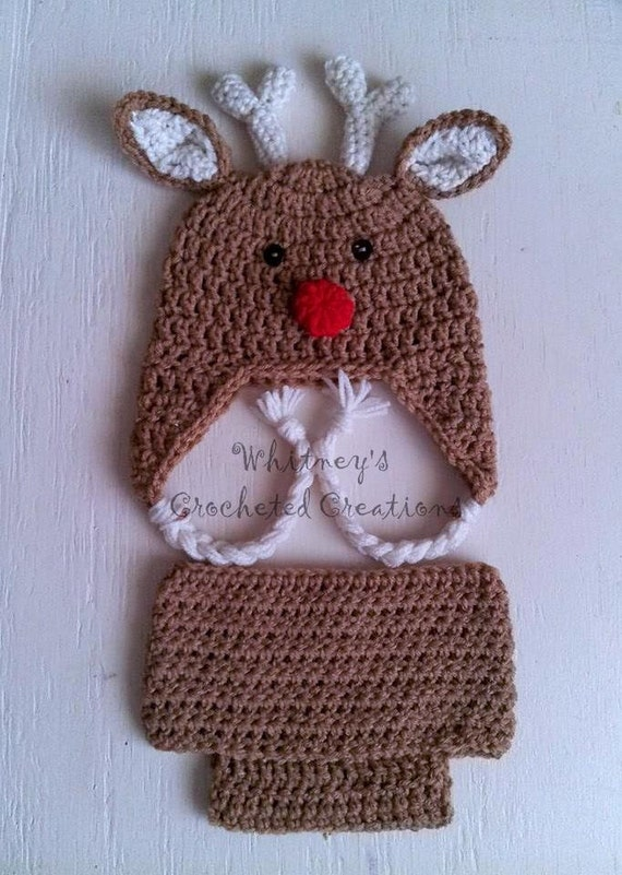 Free Crochet Deer Diaper Cover Pattern : crochet reindeer hat and diaper cover by crochetforkids1828