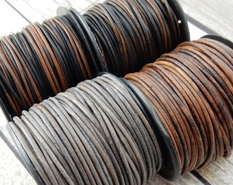 Brown Leather Cord Qty 4 Yards or 24 Yard Spool, 1.5mm Round Cording, Great Wrap Bracelets, Natural Dye Gray, Antique Brown, and Gypsy Sippa