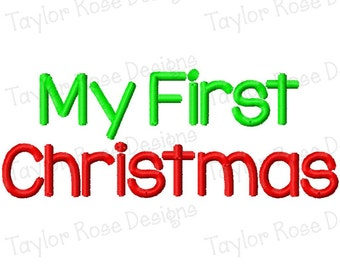 My First Christmas Machine Embroidery Design 4x4 5x7 Baby INSTANT DOWNLOAD