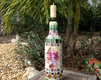 Mosaic wine bottle with cork candle