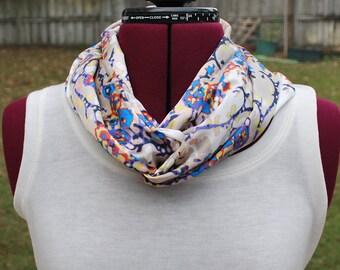 Cream, Blue Orange, Purple Silky Infinity Circle Scarf, worn multiple ways