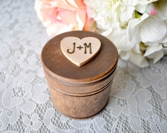 Personalized Engraved Woodburned Wooden Round Wedding Ring Box, Ring Bearer Box Wood Hearts Engraved Initials Custom Colors Round Box