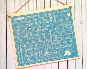 The 'Kids Will Be Kids' wooden plaque hand screen print - in blue and pink - FREE UK Delivery