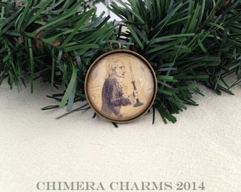 A Christmas Carol Scrooge with Candle Christmas Tree Ornament in Antique Bronze