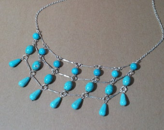 Turquoise Magnesite Silver Plated Link Necklace