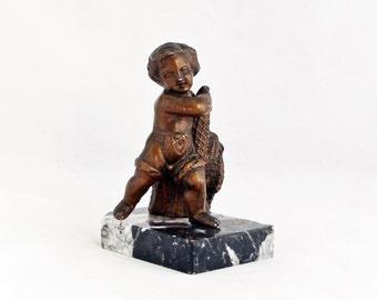 Antique French Little Fisherman Boy Figurine