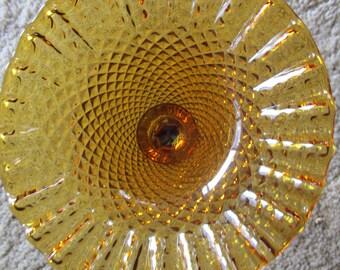 Vintage Amber Glass Ruffle Dish