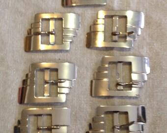 Vintage 30's/ 40's 7 metal Belt Buckles made in France