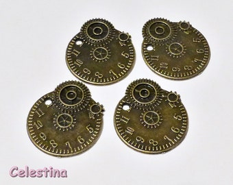 4 x  Antique Bronze Watch Part Charms Steampunk - 20mm x 21.5mm x 1.5mm Victoriana - Cogs Wheels Gears TS444