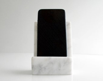 Marble Vibe iPhone White Carrara Marble Minimalist Stand, Office Home Tech Accessories, iPhone 4 iPhone 5 Stand, Marble iPhone Tech Gadget