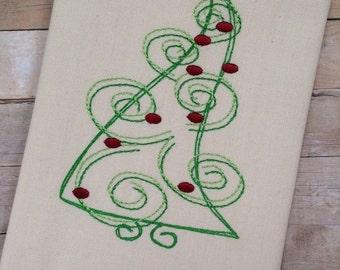 Swirly Christmas Tree Embroidery Design - Christmas Embroidery Design - tree Embroidery Design