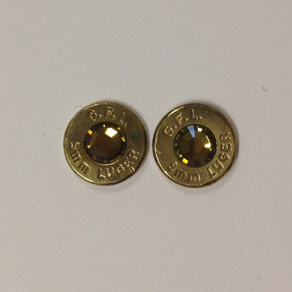 9mm bullet ammo earrings tabac iridescent brown flat