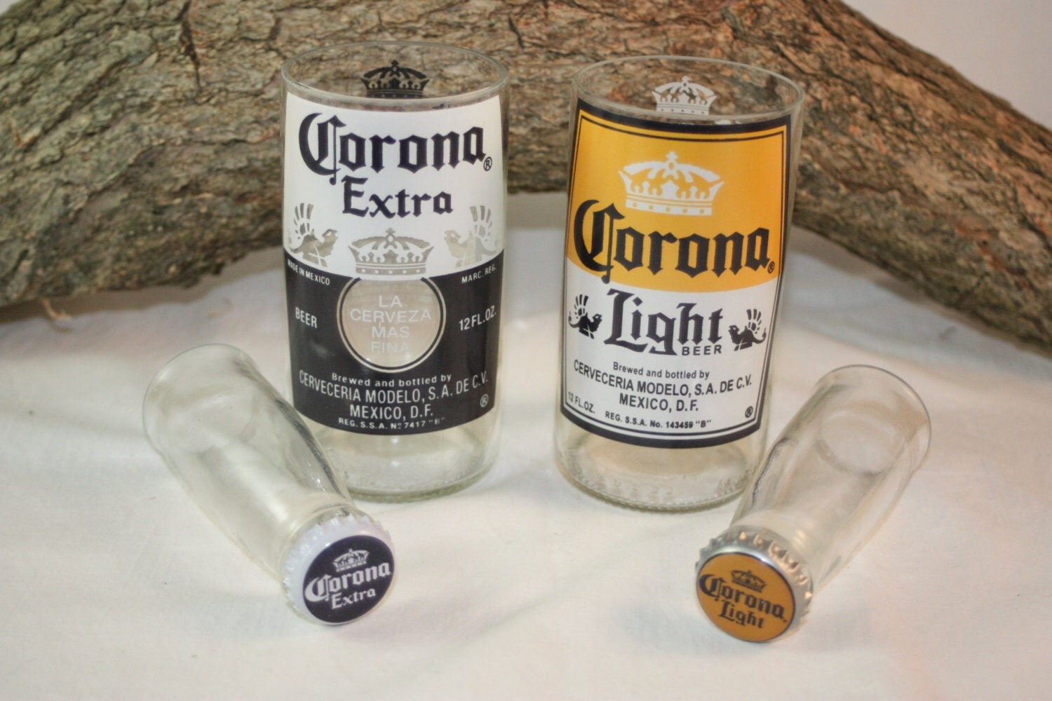 Unique glassware upcycled from corona and corona light beer for How to make corona glasses