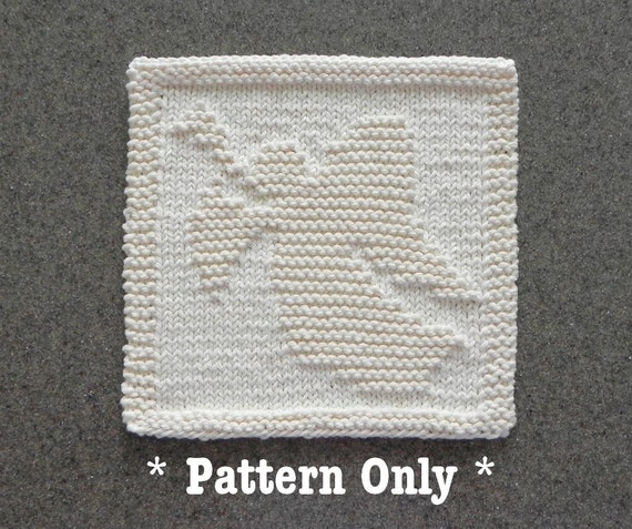 CHRISTMAS ANGEL Knitted Dishcloth Pattern PDF Instant