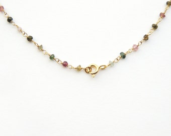 Multicolor Tourmaline wire-wrapped on oxidized rosary style Sterling Silver chain