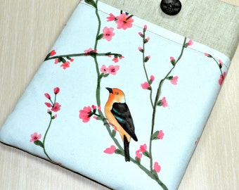 Free Shipping/ ipad mini 4 Sleeve, ipad mini retina , ipad mini,  iPad mini 3 Case, Handmade Padded, iPad mini 3 Sleeve with Pocket- Bird