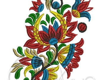 MACHINE EMBROIDERY DESIGN - Flower, folk flower