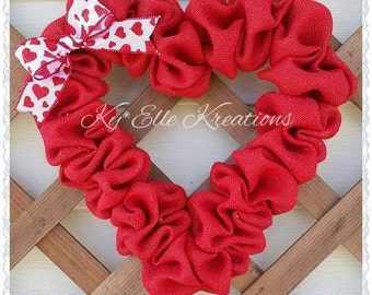 Valentines Wreath, Valentine's Day Sale Burlap Heart Wreath,  Heart Wreath, Valentines Day Gift, Valentines Day Decor, Home Decor Wreath,