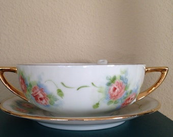 Double Handled Cup with Saucer and Ladle