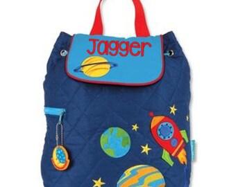 Personalised/ Stephen Joseph Quilted Backpack/ Children /Toddler Backpack/Rucksack/Nursery Bag/Nappy Bag/Space/planets/ +FREE Keyring