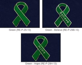 30 Green Ribbon Assorted Pin Packs - 30 Pins (P-29-13BH)