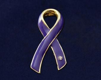 Large Violet Ribbon Pins (15 Pins) (P-04-27)