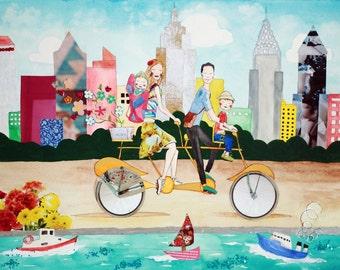Family Portrait New York City - Large Mixed-media Custom Illustration - Choose any City