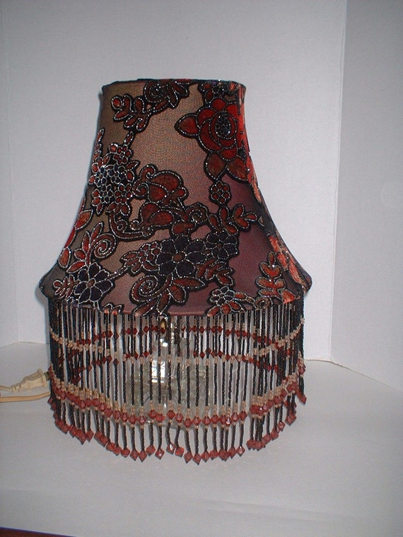 Vintage red and purple velvet lampshade with beads victorian for Purple beaded lamp shade