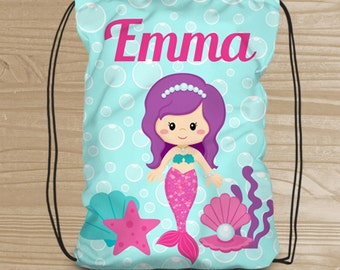Personalized Mermaid Drawstring Backpack - Beach Backpack for Girls - Kids' Beach Fabric Bag with Mermaid - Beach Drawstring Backpack