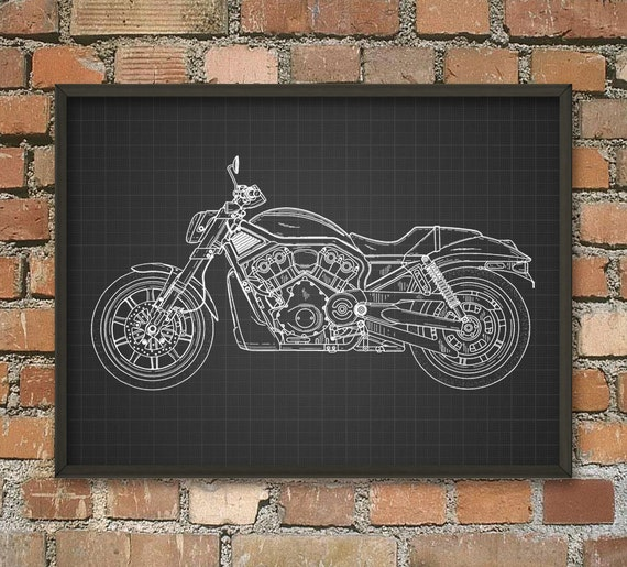 Harley Davidson Motorcycle Patent Wall Art Poster By